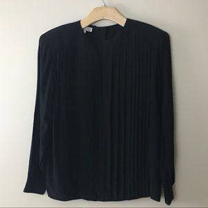 Vintage Silk Oleg Cassini Pleated Black Top S